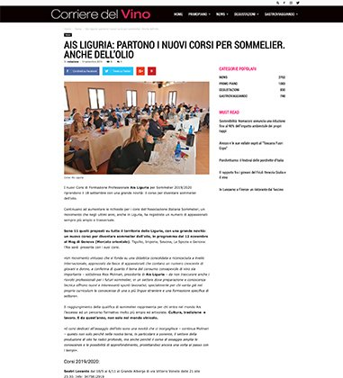 AIS LIGURIA: PARTONO I NUOVI CORSI PER SOMMELIER. ANCHE DELL'OLIO