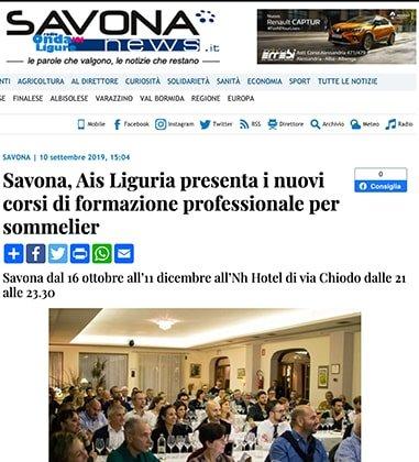 Savona, Ais Liguria presenta i nuovi corsi di formazione professionale per sommelier