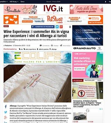 Wine Experience: i sommelier Ais in vigna per raccontare i vini di Albenga ai turisti