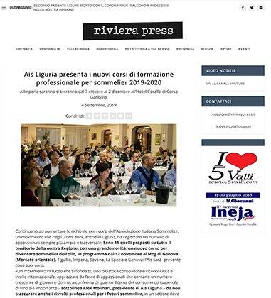Ais Liguria presenta i nuovi corsi di formazione professionale per sommelier 2019-2020