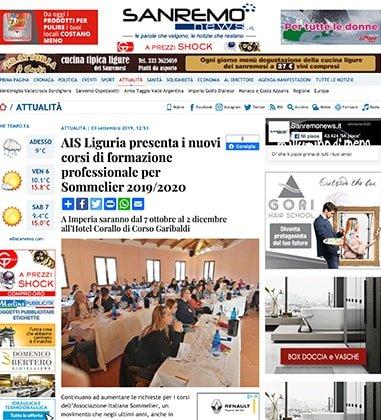 AIS Liguria presenta i nuovi corsi di formazione professionale per Sommelier 2019/2020