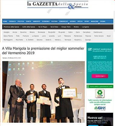 A Villa Marigola la premiazione del miglior sommelier del Vermentino 2019