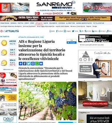AIS e Regione Liguria insieme per la valorizzazione del territorio attraverso le tipicità locali e le eccellenze vitivinicole