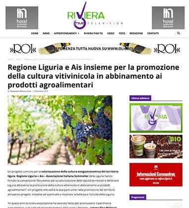 Regione Liguria e Ais insieme per la promozione della cultura vitivinicola in abbinamento ai prodotti agroalimentari