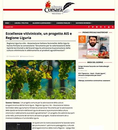 Eccellenze vitivinicole, un progetto AIS e Regione Liguria