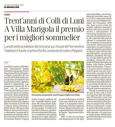 Trent'anni di Colli di Luni a Villa Marigola il premio per i migliori sommelier