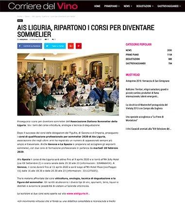 AIS LIGURIA, RIPARTONO I CORSI PER DIVENTARE SOMMELIER