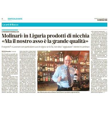 """Molinari: in Liguria prodotti di nicchia. """"Ma il nostro asso è la grande qualità"""""""