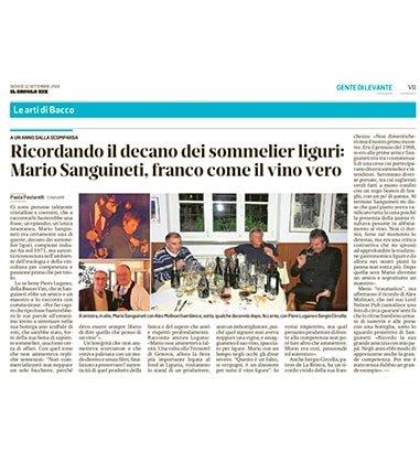 Ricordando il decano dei sommelier liguri: Mario Sanguineti, franco come il vino vero